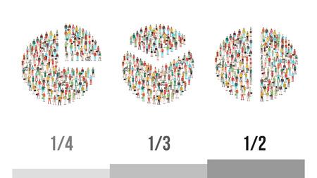 Los gráficos circulares compuestas de personas: un cuarto, un tercio y la mitad, estadísticas y datos demográficos de concepto