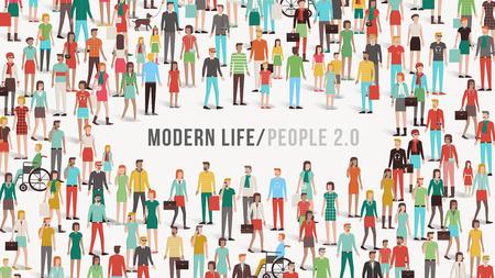 Multitud de personas bandera con los hombres, las mujeres, los niños, los diferentes grupos étnicos y discapacidad, copia espacio en el centro, la diversidad y el concepto de comunicación