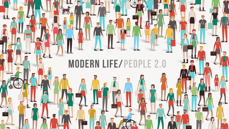 grupos de personas: Multitud de personas bandera con los hombres, las mujeres, los niños, los diferentes grupos étnicos y discapacidad, copia espacio en el centro, la diversidad y el concepto de comunicación Vectores