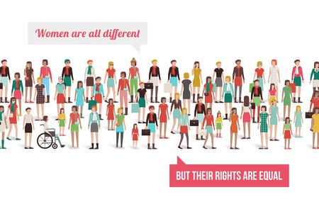 persona en silla de ruedas: Bandera de los derechos de las mujeres, multitud de diferentes mujeres de pie juntos, el concepto de empoderamiento Vectores