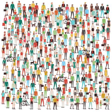 Multitud de personas, hombres, mujeres, niños, diferentes grupos étnicos y el vestido, los consumidores y los grandes grupos de concepto Vectores