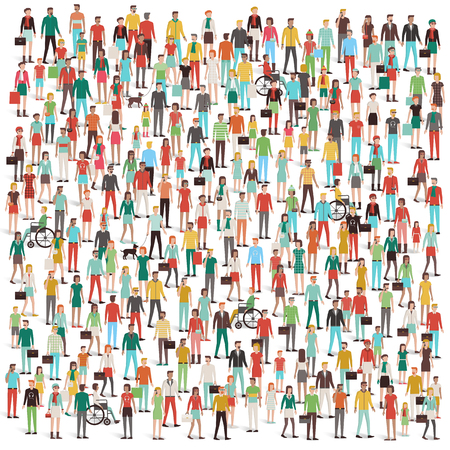 Crowd of people, men, women, children, different ethnic groups and clothing, consumers and large groups concept
