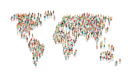 global communication: Crowd of people composing a world map, aerial view, global community, international communications and human rights concept