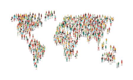 Folla di persone che compongono una mappa del mondo, vista aerea, comunità globale, comunicazioni internazionali e dei diritti umani concetto