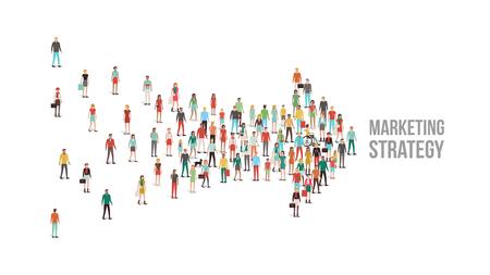 사람들의 군중은 화살표 모양, 리더십, 선택과 방향 개념에 모여