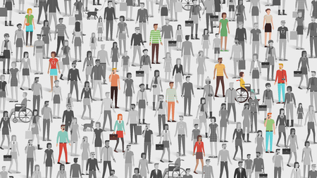 grayscale: Crowd of people with few individuals highlighted, individuality and diversity concept Illustration