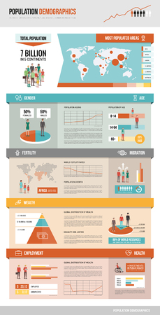 demographics: Population demographics infographic with charts, statistics, icons and characters, social demography and statistics concept