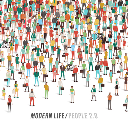 people standing: Crowd of people, men, women, children, different ethnic groups and clothing, text and copy space at bottom