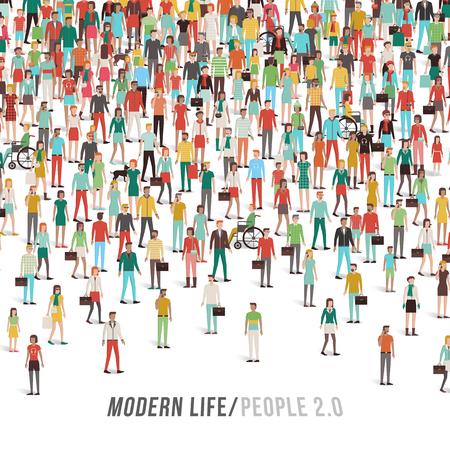 Multitud de personas, hombres, mujeres, niños, diferentes grupos étnicos y ropa, texto y espacio de copia en la parte inferior