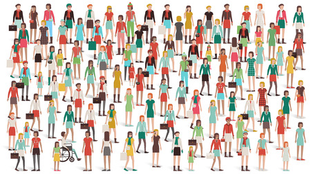 mixed race woman: Crowd of women standing together, different ethnic groups and clothing, womens day and empowerment concept