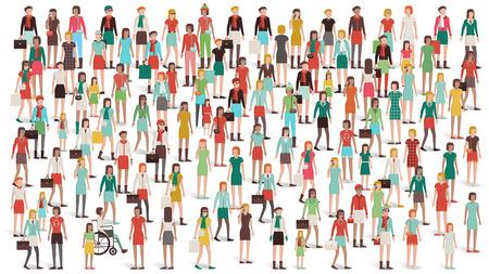 Folla di donne in piedi insieme, i diversi gruppi etnici e abbigliamento, il giorno delle donne e il concetto di empowerment Vettoriali