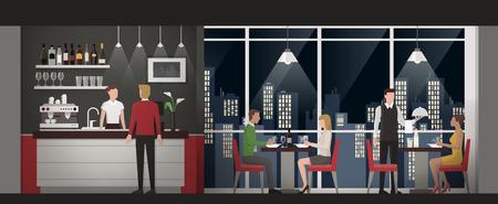 밤 시간에 옥상 레스토랑에서 독점적 인 저녁 식사를하는 사람들, 친구들과 고급 개념 일러스트