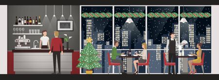 dining table: People having a Christmas eves dinner at the rooftop restaurant, skyline and snow on background, lifestyle and celebration concept
