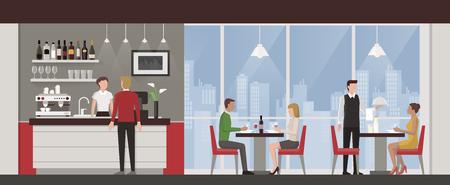 almuerzo: Las personas que tienen el almuerzo en un restaurante de lujo en la azotea exclusiva, horizonte de la ciudad en el fondo