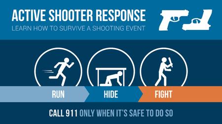 människor: Aktiv shooter svar säkerhetsförfarande banderoll med streckgubbar: kör, dölja eller kamp