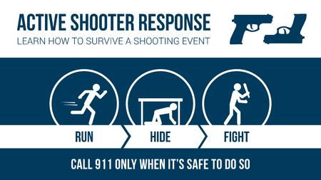 Actieve shooter reactie veiligheidsprocedure banner met stok cijfers: looppas, verbergen of vechten