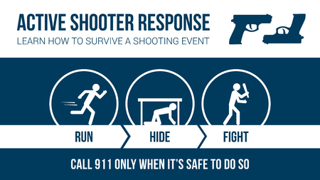 procedures: Active shooter response safety procedure banner with stick figures: run, hide or fight Illustration