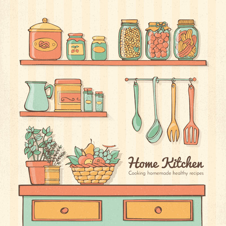 utensils: Home kitchen hand drawn with utensils, shelves, vegetables, herbs and preserves Illustration