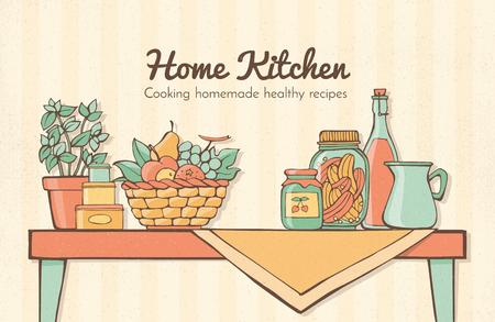 casa de cocina con mesa de época, hierbas, frutas, frascos y cajas, alimentos y recetas concepto de salud