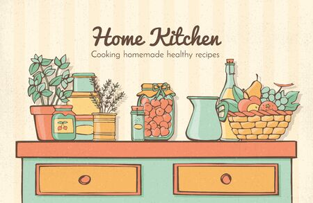 herbs boxes: Home kitchen banner with vintage furniture, herbs, fruit and boxes, healthy lifestyle and food concept