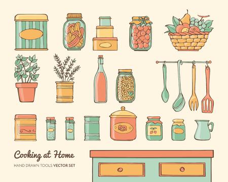 frasco: objetos de cocina Inicio establecidos con los alimentos, hierbas y utensilios, dibujado a mano