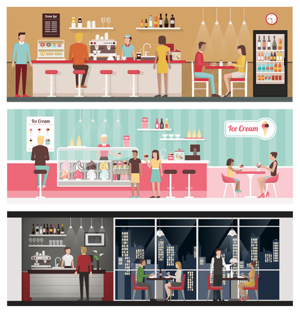 People eating and drinking in a bar, in an ice-cream shop and in a luxury restaurant, healthy eating and lifestyle concept Illustration