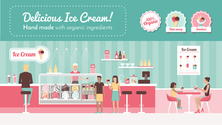 Ice cream parlor banner, shop interior, desserts and people eating Vettoriali