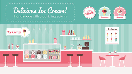 shop display: Ice cream parlor banner, shop interior and desserts on display