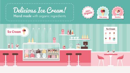 Ijssalon banner, winkel inter en desserts op het display Vector Illustratie