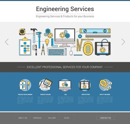 mechanical engineer: Engineering professional services web template, project, measuring and prototyping concept