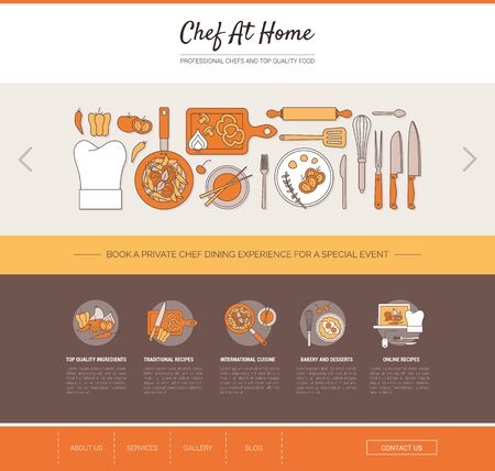 home cooking: Chef at home web templates and banners with icons set, cooking, recipes and restaurants concept
