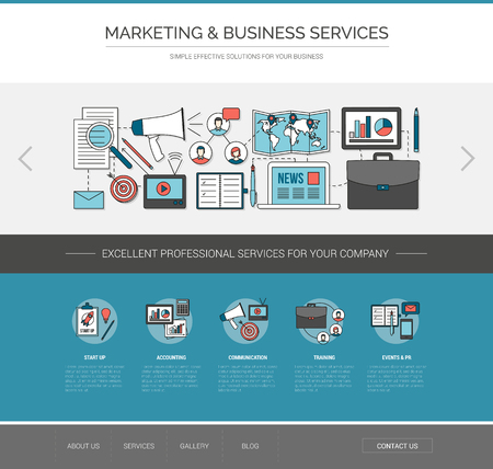 web marketing: Marketing and communication web template, advertising and business improvement concept