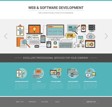 Web and software development template, coding, social network and hosting concept