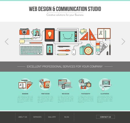 graphic design: Graphic designer web template, advertising, communication and creativity concept