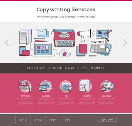 content writing: Copywriting and editing web template, seo, publishing and content writing concept Illustration