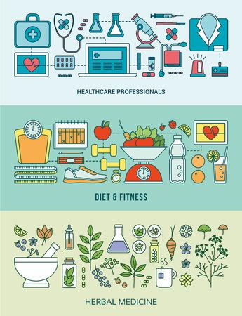 Banner instellen op de gezondheidszorg, preventie, voeding, fitness, voeding en kruiden alternatieve geneeskunde
