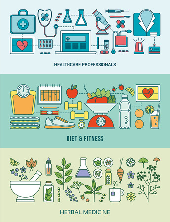 food research: Banner set on healthcare, prevention, diet, fitness, nutrition and herbal alternative medicine