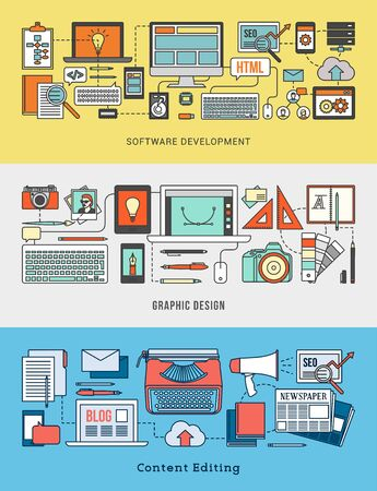 editing: Development, design, marketing and content editing banner set with computer networks and work tools Illustration