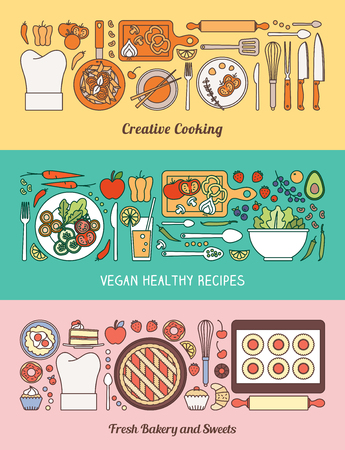 salad bowl: Food, cooking and healthy eating banner set with kitchen utensils, recipes, vegetables and baked home made sweets
