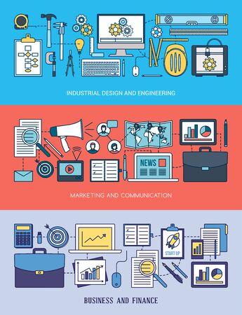 red informatica: La ingenier�a, la comercializaci�n y el negocio conjunto de la bandera con las herramientas, la red de ordenadores y objetos de escritorio Vectores