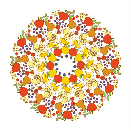 Fruit and healthy eating mandala with apples, bananas, berries, lemons and peaches