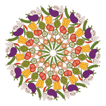 veggies: Veggies mandala with various healthy vegetables