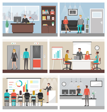 whiteboard: Business people working in the office and corporate building, conference room, reception, waiting room and elevators