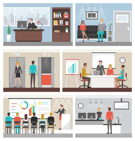 Geschäftsleute, die im Büro und Firmengebäude arbeiten, Konferenzraum, Rezeption, Wartezimmer und Aufzüge Vektorgrafik