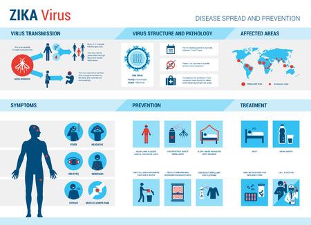 Zika infografía virus: prevención, síntomas y tratamiento Vectores