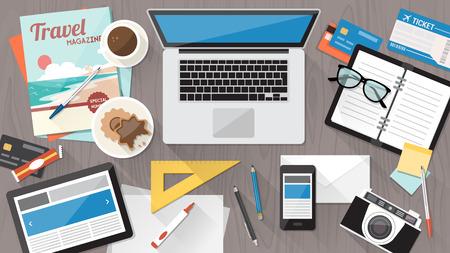 Desordenado escritorio de oficina, organización del espacio de trabajo y el orden desordenado concepto Ilustración de vector