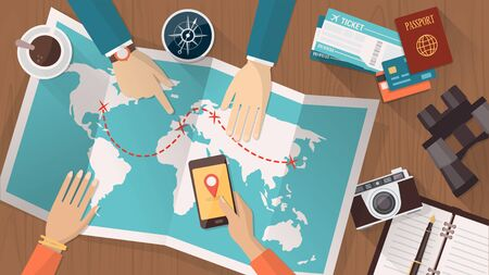 travel phone: People planning a trip around the world, they are pointing on a map and using an app on a mobile phone, travel and vacations concept Illustration