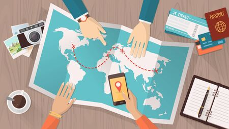 trip: People planning a trip around the world, they are pointing on a map and using an app on a mobile phone, travel and vacations concept Illustration