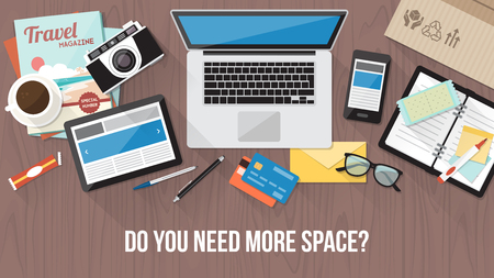 Messy cluttered office desk, workspace organization and order concept Illustration