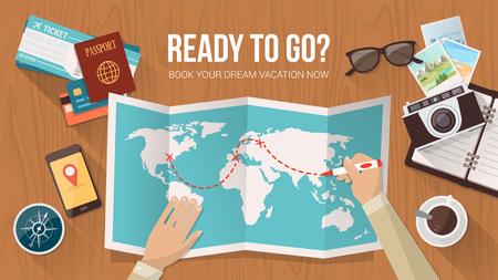 Explorer plánují cestu kolem světa, je sledování trasy na mapě, cestování a dobrodružství koncepce